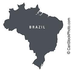 nero bianco, mappa, di, brasile
