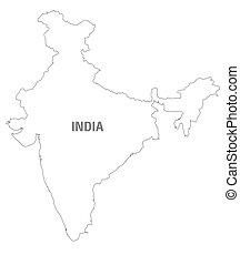 nero bianco, mappa, di, india