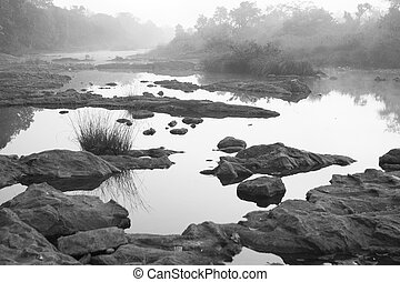 nero, bianco, (minimalism), india, paesaggio