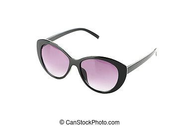 nero, bianco, occhiali da sole, isolato, fondo