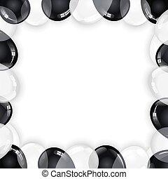 nero, bianco, palloni, fondo, celebrazione