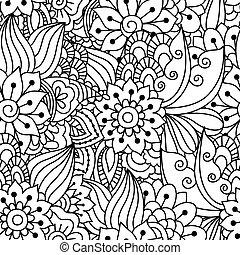 nero, bianco, pattern., seamless