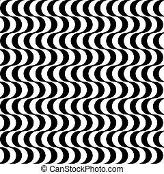 nero bianco, retro, disegnato, onde