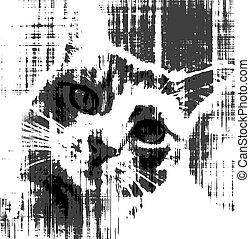 nero bianco, schizzo, di, triste, gatto