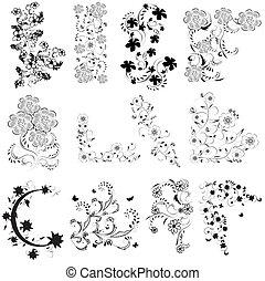 nero, bianco, set, angolo, fiori
