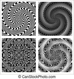 nero, bianco, set, sfondi, illusione