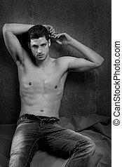 nero bianco, sexy, giovane, shirtless, uomo