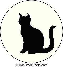 nero, bianco, silhouette, fondo, gatto