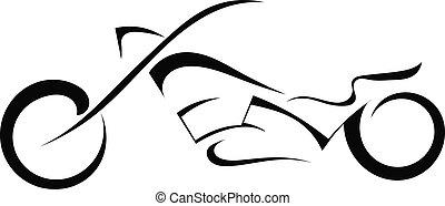nero, bianco, silhouette, motocicletta, fondo