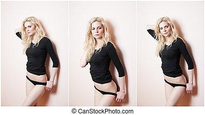 nero, biondo, attraente, sexy