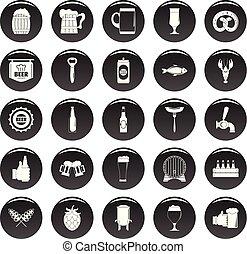 nero, birra, vetor, set, icone