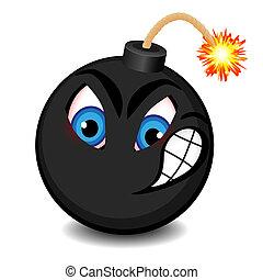 nero, bomba, con, uno, faccia divertente