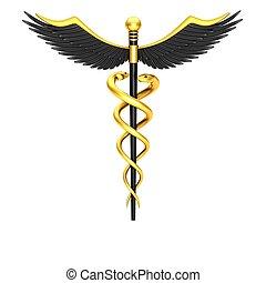 nero, caduceo, simbolo medico