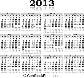 nero, calendario, 2013, vettore, riflessione, bianco