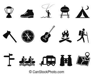 nero, campeggio, icone, set