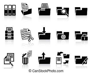 nero, cartella, icone, set