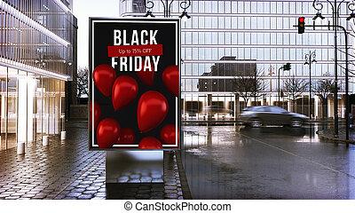 nero, centro, venerdì, tabellone, città, pubblicità