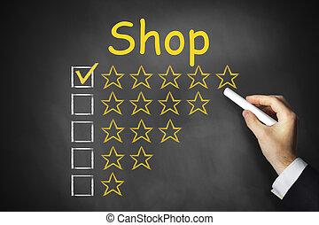nero, chalkboad, negozio, ranking