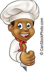 nero, chef, cartone animato, carattere, mascotte