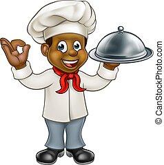 nero, chef, cartone animato, carattere