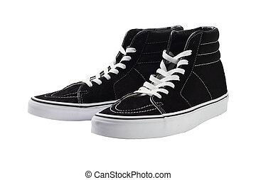 nero, cima alta, tela, scarpe tennis