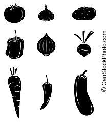 nero, collezione, silhouette