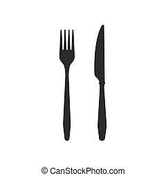 nero, coltello, fondo., cutlery., icone, forchetta, bianco