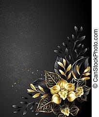 nero, composizione, orchidee