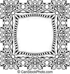 nero, cornice, con, ornamentale, bordo
