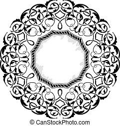 nero, cornice, ornamentale, bordo