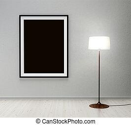 nero, cornice, su, parete