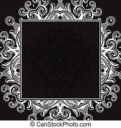 nero, cornice, vettore, gotico