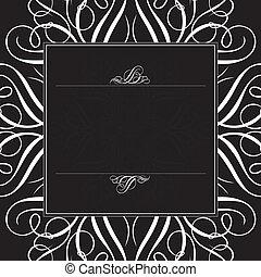 nero, cornice, vettore, ornamento