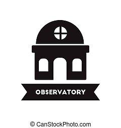 nero, costruzione, stile, osservatorio, icona, bianco, ...