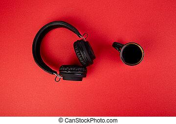 nero, cuffie, e, tazza caffè