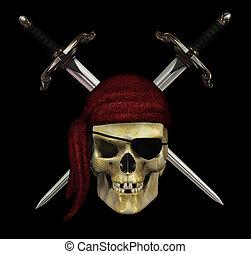 nero, daggers, -, pirata, cranio