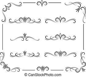 nero, decorativo, riccio, elementi, e, ornamenti