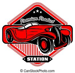 nero, distintivo, con, rosso, retro, automobile, e, iscrizioni
