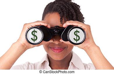 nero, dollaro, riflettere, fondo, giovane, isolato, segno, bianco, affari donna, binocolo, /, americano, africano, usando