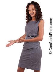 nero, donna affari, fabbricazione, uno, dare benvenuto, gesto