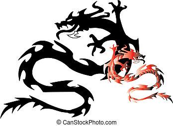 nero, dragon., vettore, silhouette
