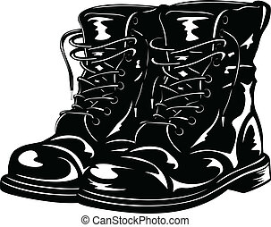 nero, esercito, stivali