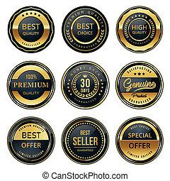 nero, etichette, qualità, oro