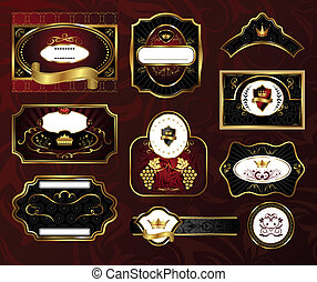 nero, etichette, set, gold-framed