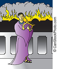 A cartoon depiction of the classic story of nero playing his lyre while rome burns.
