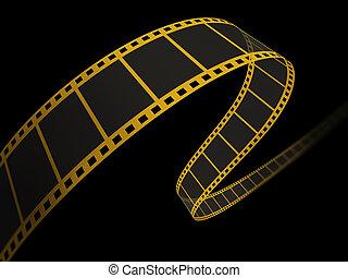 nero, film, 3d, striscia
