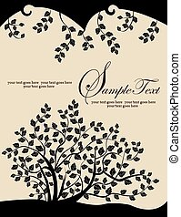 nero, foglie, ramo albero