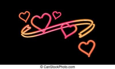 nero heart color loop - the heart graphic of nero light glow
