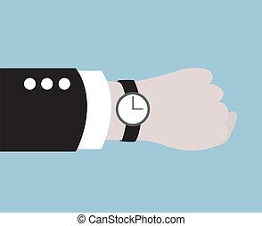 nero, il portare, uomo affari, orologio
