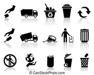 nero, immondizia, icone, set